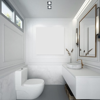 Decoração e móveis de mock up modernos e interior de banheiro