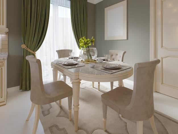 Decoração e móveis em sala de jantar clássica, renderização em 3d