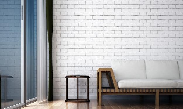 Decoração e móveis minimalistas e sala de estar e textura de parede de tijolo design de interiores de fundo