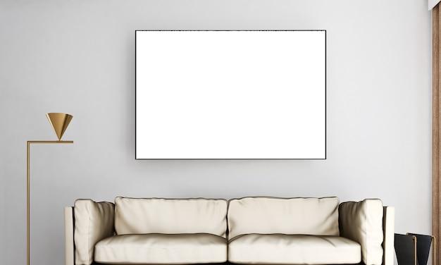 Decoração e móveis modernos e sala de estar e moldura vazia no design de interiores de fundo de parede