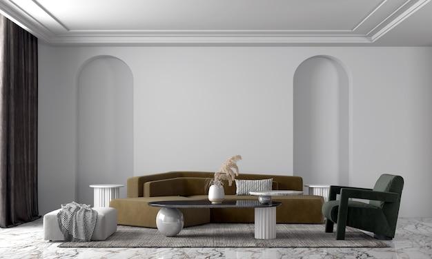 Decoração e parede moderna e aconchegante de bela sala de estar
