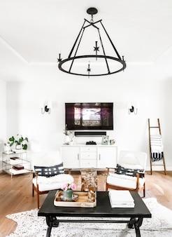 Decoração estética minimalista de sala de estar