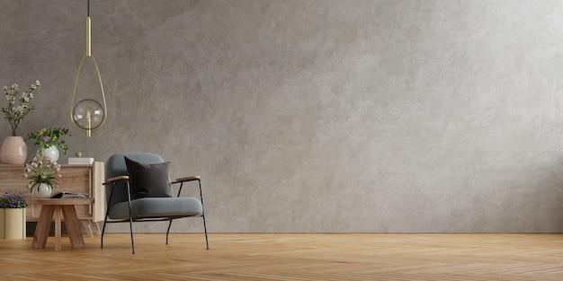 Decoração interior com poltrona na parede de concreto vazia, renderização em 3d