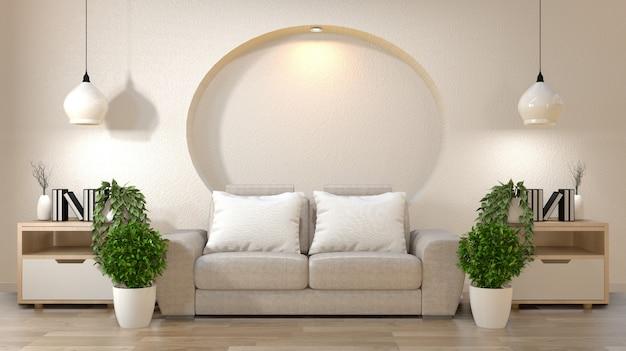 Decoração interior do zen da sala de visitas na zombaria da parede da prateleira acima com sofá e descansos no branco.