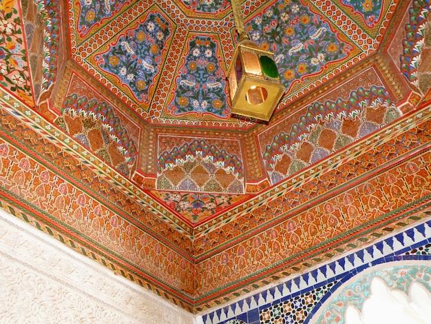 Decoração interior, em, palácio bahia, de, marrakech, marrocos