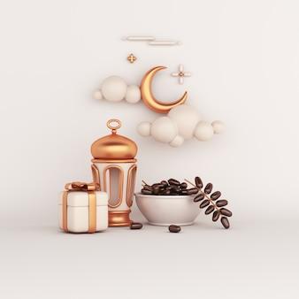 Decoração islâmica com data lanterna árabe com frutas, caixa de presente, ilustração de iftar em forma de lua crescente