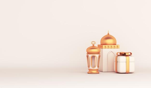 Decoração islâmica com espaço de cópia da caixa de presente da mesquita com lanterna árabe