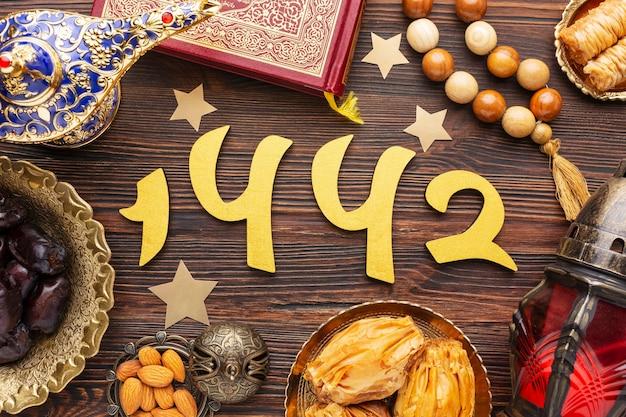 Decoração islâmica de ano novo com alcorão e contas de oração