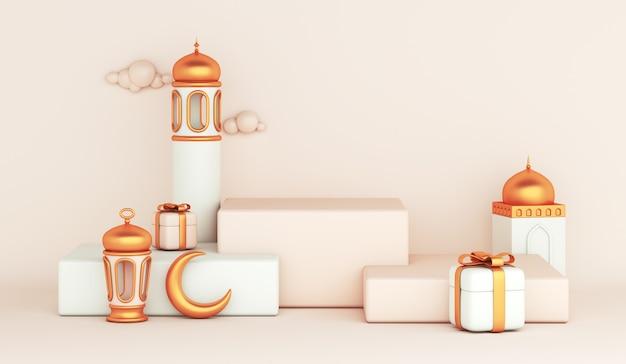 Decoração islâmica de exibição de pódio com mesquita com lanterna árabe e caixa de presente