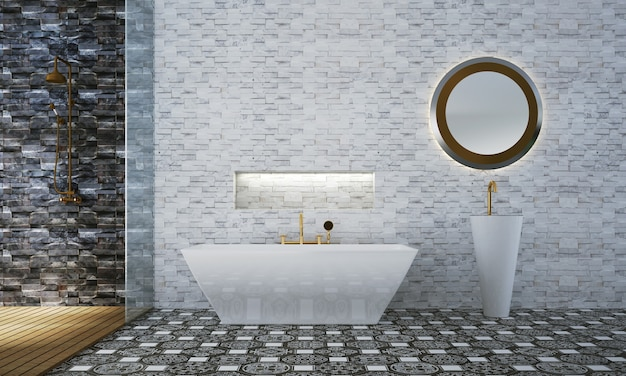 Decoração luxuosa de móveis e interiores de banheiro e fundo de padrão de parede de azulejo branco