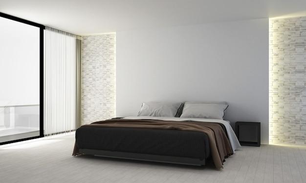 Decoração mínima de móveis e interiores de quarto e fundo vazio de parede branca