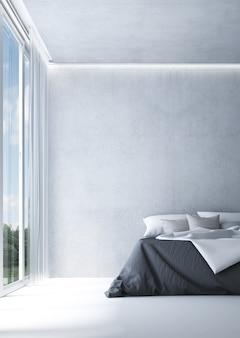 Decoração mínima de móveis e interiores de quarto e fundo vazio de parede de concreto