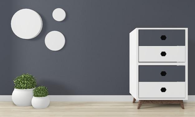 Decoração mínima do projeto de japão do mini armário no design de interiores da sala do zen. renderização em 3d