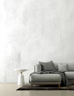Decoração minimalista de sofá e interior da sala de estar do loft e fundo padrão de parede de concreto