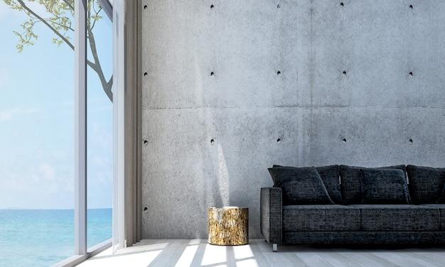 Decoração minimalista e mock up do interior da sala e da sala de estar e fundo da parede de concreto e vista para o mar