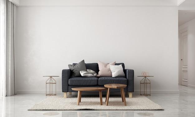 Decoração minimalista e simulação de sala de estar e design de interiores de fundo de textura de parede branca