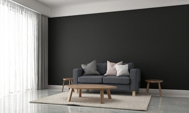 Decoração minimalista e simulação de sala de estar e design de interiores de fundo de textura de parede preta