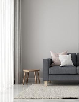 Decoração minimalista e simulação de sala de estar e design de interiores de fundo de textura de parede vazia