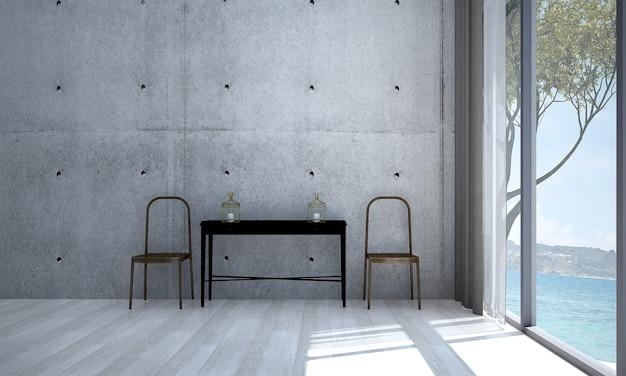 Decoração minimalista e simulação do interior do quarto, da sala de estar e do fundo da parede de concreto