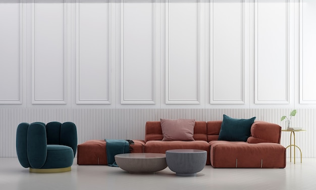 Decoração moderna de móveis e interiores de sala de estar e fundo branco padrão de parede