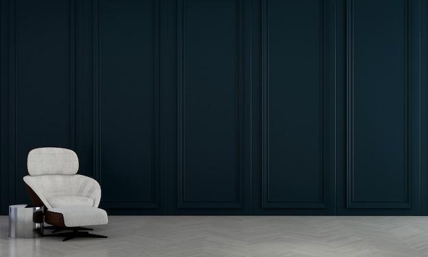 Decoração moderna de móveis e interiores de sala de estar e fundo com padrão de parede azul