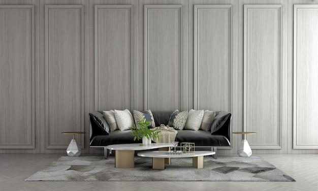 Decoração moderna de móveis e interiores de sala de estar e fundo de padrão de parede de madeira