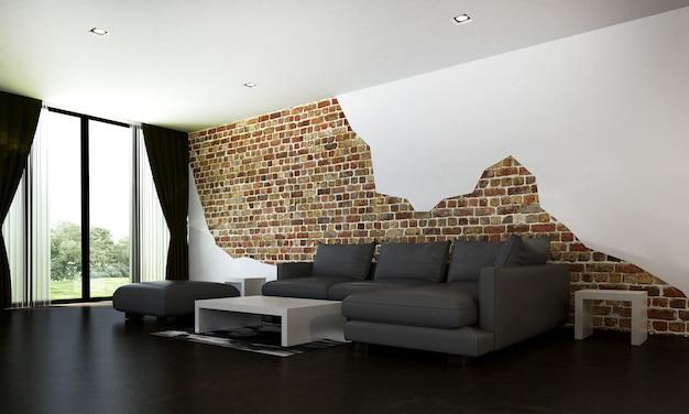 Decoração moderna de móveis e interiores de sala de estar e fundo vazio de parede de tijolo