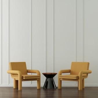 Decoração moderna de poltronas amarelas e interior de sala de estar e fundo de parede