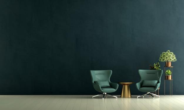Decoração moderna de poltronas e interior de sala de estar e fundo verde padrão de parede