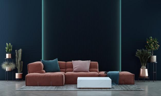 Decoração moderna de simulação e design de interiores de sala de estar e fundo de parede azul vazio