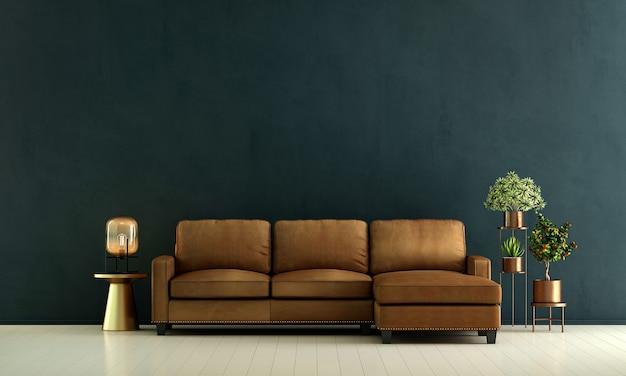 Decoração moderna de sofá de couro, interior da sala de estar e fundo padrão de parede