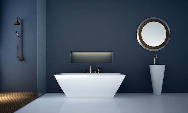 Decoração moderna e aconchegante de móveis e interiores de banheiro e fundo com padrão de parede azul