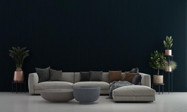 Decoração moderna e aconchegante de móveis e sala de estar e interior de fundo de textura de parede vazia