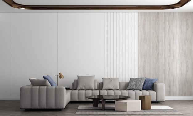 Decoração moderna e aconchegante de sala de estar e sofá e design de interiores de fundo de textura de parede vazia