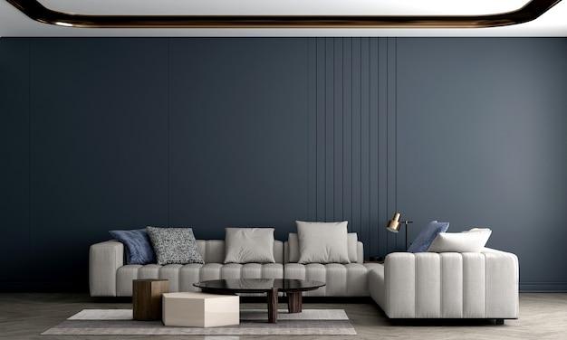 Decoração moderna e aconchegante de sala de estar e sofá e parede vazia com textura azul design de interiores