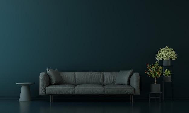 Decoração moderna e interior azul da sala de estar e simulação de móveis e fundo de textura de parede vazia