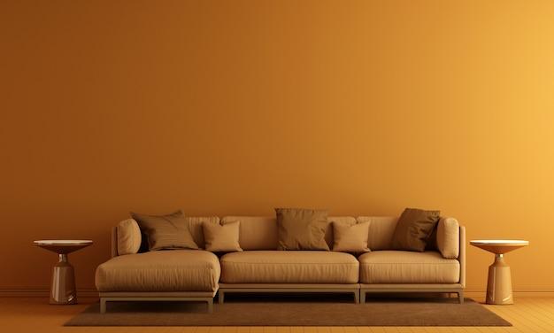 Decoração moderna e interior da sala de estar e simulação de móveis e fundo de textura de parede amarela