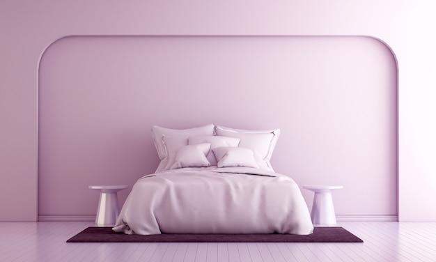 Decoração moderna e interior do quarto e simulação de móveis e fundo de textura rosa da parede