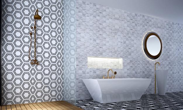 Decoração moderna e luxuosa de móveis e interiores de banheiro e fundo de padrão de parede de azulejo branco
