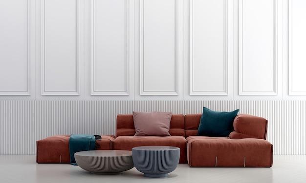 Decoração moderna e luxuosa de móveis e interiores de sala de estar e fundo branco padrão de parede