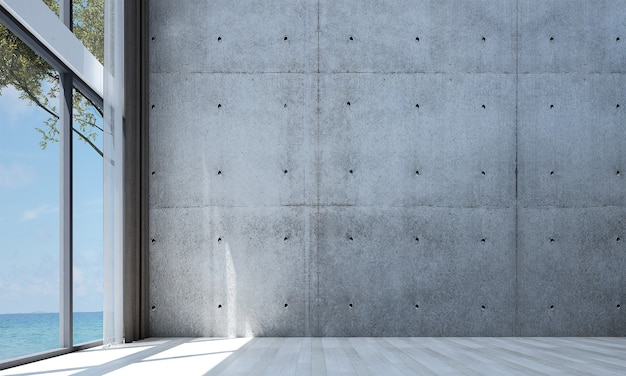Decoração moderna e simulação de interior de quarto e sala de estar do loft e fundo de parede de concreto