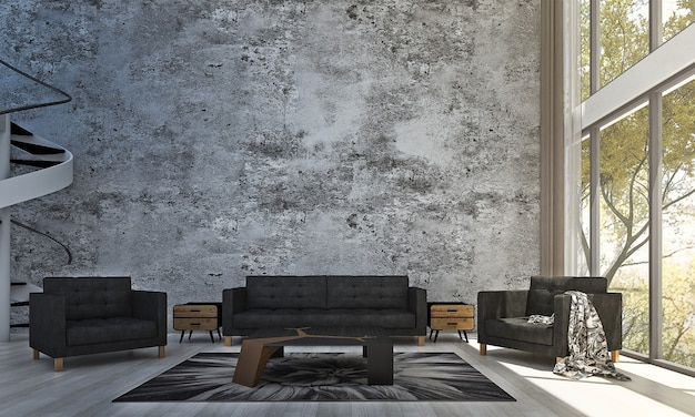 Decoração moderna e simulação de interior de quarto e sala de estar e fundo de parede de concreto vazio