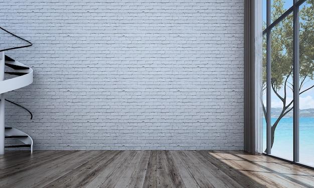 Decoração moderna e simulação de interior de quarto e sala de estar e fundo de parede de tijolo
