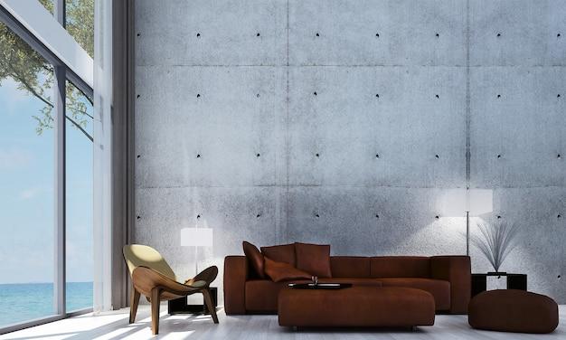 Decoração moderna e simulação de interior de quarto e sala de estar e fundo de parede e sofá vermelho