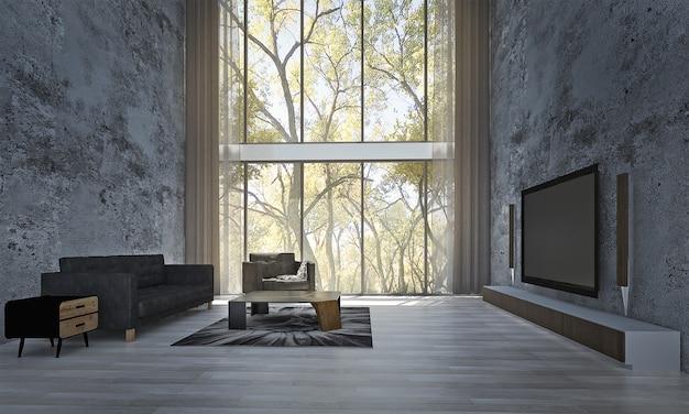 Decoração moderna e simulação de interior de quarto e sala de estar e fundo de parede e suporte de tv