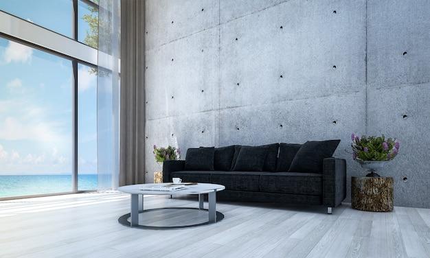 Decoração moderna e simulação de interior de quarto e sala de estar minimalista e fundo de parede e vista para o mar