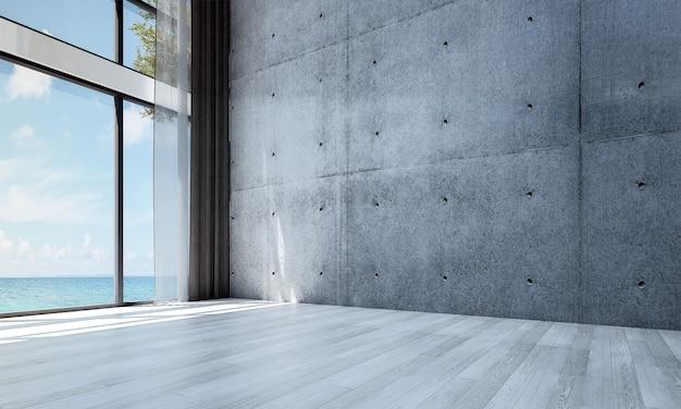 Decoração moderna e simulação de interior de quarto e sala de estar vazia e fundo de parede de concreto