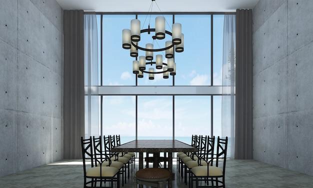 Decoração moderna e simulação de interior de quarto e sala de jantar e fundo de parede e vista para o mar