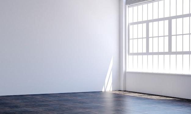 Decoração moderna e vazia de móveis e interiores de quarto branco e fundo de parede vazio
