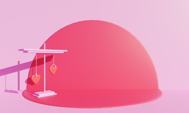 Decoração rosa mínima com fundo rosa. ilustração 3d